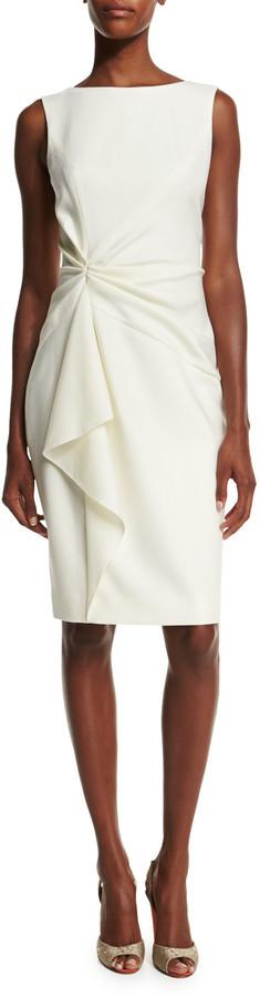 Carolina Herrera Sleeveless Ruffle-Front Sheath Dress