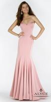 Alyce Paris Strapless Cascading Ruffle Back Crepe Evening Dress