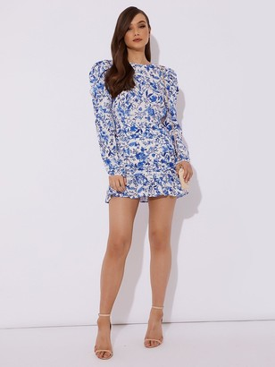 In The Style X Lorna Luxe 'Practically Perfect' Porcelain Mini Dress - Blue