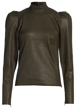 Gestuz Leather Puff-Sleeve Top
