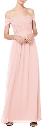 #Levkoff Off the Shoulder Chiffon A-Line Gown