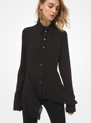 Michael Kors Collection Silk Georgette Asymmetric Peplum Blouse