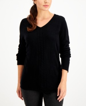 Karen Scott Plus Size Luxsoft V-Neck Cable-Trimmed Sweater, Created for Macy's