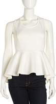 Romeo & Juliet Couture High-Low Peplum Blouse, Ivory