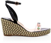 Sophia Webster Dina Embellished Vinyl & Leather Espadrille Wedges
