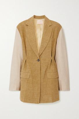 Roksanda Leonie Oversized Two-tone Silk, Linen And Wool-blend Blazer - Army green