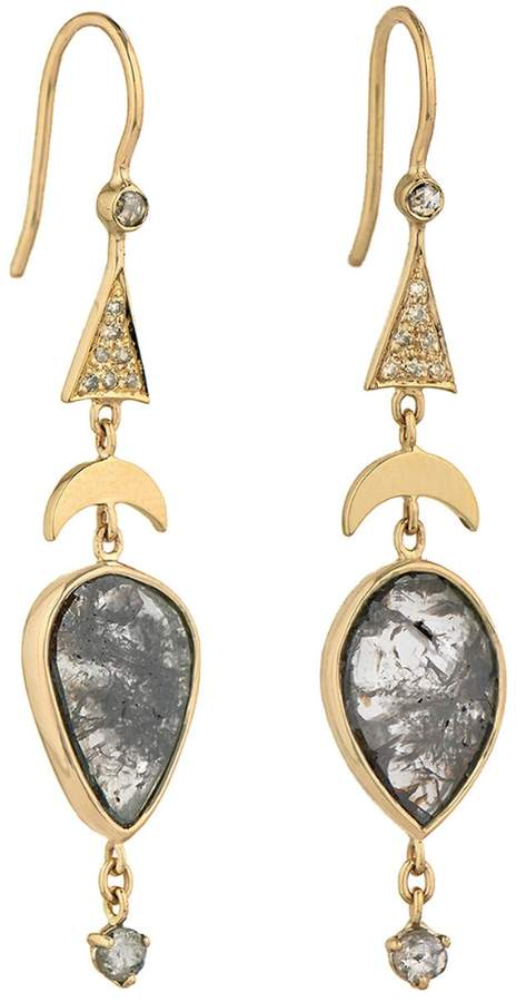 Celine Daoust Grey Rose Cut Diamonds and Moon Pyramid Earrings