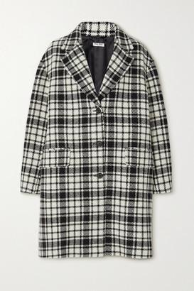 Miu Miu Checked Wool-blend Coat - Black
