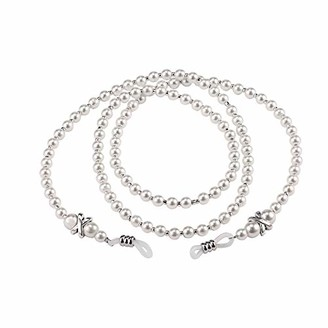 Triamisu Women Handmade Fashion Imitation Pearl Beaded Eyeglass Eyewears Sunglasses Strap Rope Reading Glasses Chain Cord Holder - White