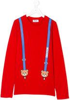 Moschino Kids Teddy Bear suspender print top