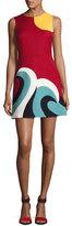 RED Valentino Sleeveless Intarsia Wave Cady Minidress, Red