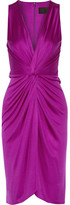 Cushnie et Ochs Gathered Silk-satin Dress - Violet