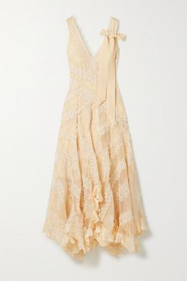 Zimmermann Charm Star Ruffled Silk-organza And Guipure Lace Maxi Dress - Beige