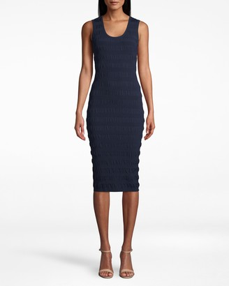 Nicole Miller Smocked Knit Scoop Neck Dress