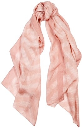 Eileen Fisher Light pink printed silk scarf