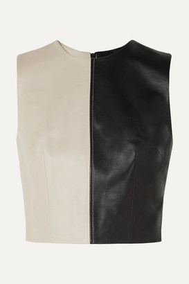 16Arlington Dickinson Cropped Two-tone Leather Top - Black