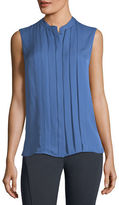 Elie Tahari Terri Sleeveless Pleated Silk Blouse