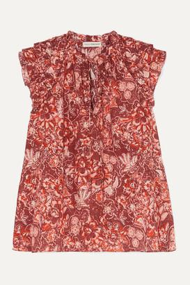 Ulla Johnson Rina Ruffled Floral-print Cotton-blend Voile Blouse - Brick
