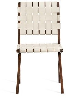 Interlude Louis Leather Side Chair Frame Color: Walnut/Antique Bronze, Upholstery Color: Mediterranean Sand
