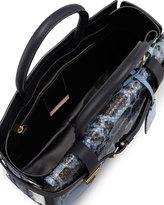 Reed Krakoff Python/Leather Boxer Tote Bag, Blue/Multi