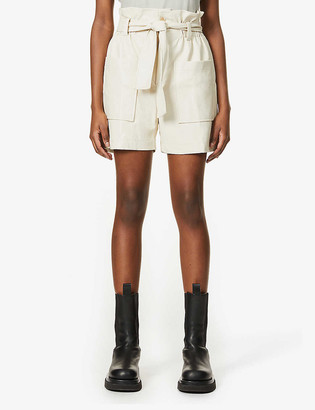 Frankie Shop Alex faux-leather high-rise shorts