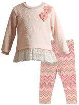 Youngland Baby Girl Textured Knit Long Sleeve Tunic & Chevron Leggings Set