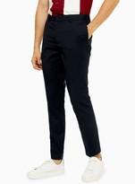 Topman Navy Skinny Fit Smart Trousers