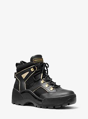 Michael Kors Brooke Metallic Leather And Scuba Boot