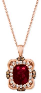 "LeVian Le Vian Raspberry Rhodolite (3-1/6 ct. t.w.) & Diamond (5/8 ct. t.w.) 18"" Pendant Necklace in 14k Rose Gold"