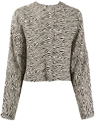 Nanushka Louise zebra-print pleated top