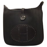 Hermes Evelyne II black canvas and leather