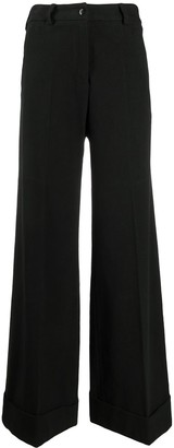 Brag Wette Wide-Leg Turn-Up Cuff Trousers
