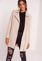 Missguided Faux Wool Biker Coat Cream