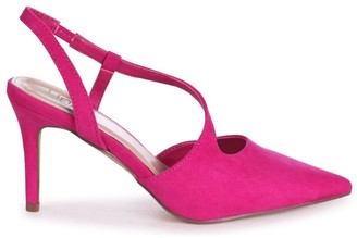 Linzi BERKELEY - Fuchsia Suede Wrap Around Sling Back Court Heel