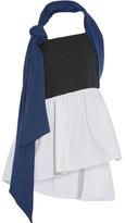 Isa Arfen Denim, Linen And Cotton-blend Poplin Halterneck Top - Storm blue