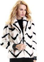 Escalier Women`s Winter Striped Lapel Collar Faux Fur Coat Overcoat