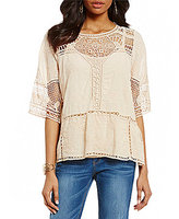 Democracy 3/4 Sleeve Crochet Top
