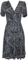 Wallis Navy Swirl Print Wrap Fit and Flare Dress