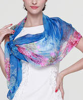Alyzee Women's Accent Scarves blue - Blue Floral Silk Scarf