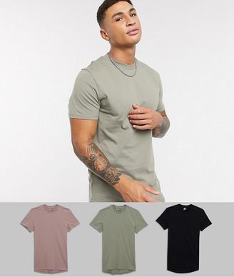 ASOS DESIGN 3 pack longline t-shirt with side splits save