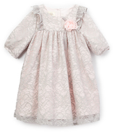 Laura Ashley Gray & Pink Lace Babydoll Dress - Toddler & Girls