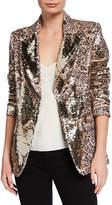 Berek Plus Size Sequin Leopard-Print Two-Button Blazer