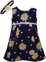 Bonnie Jean Baby Girl Daisy Print Shift Dress With Matching Headband