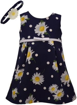 Bonnie Jean Baby Girl Daisy Print Shift Dress With Matching Headband