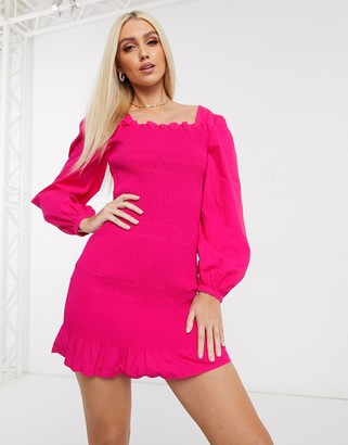 NA-KD smocked puff sleeve mini dress in fuchsia pink