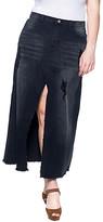 Be Girl be-girl Women's Denim Skirts Black - Black Wash Rip Denim Maxi Skirt - Plus