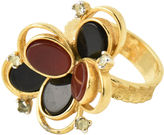 One Kings Lane Vintage 1960s Mod Goldplat Onyx & Agate Ring