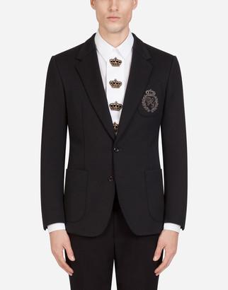 Dolce & Gabbana Jersey Stretch Jacket With Patch