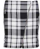 Select Fashion Fashion Womens Grey Asymmetric Tartan Zip Mini - size 18