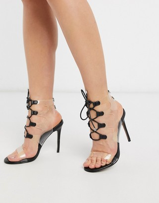 ASOS DESIGN Neat clear ghillie heeled sandals